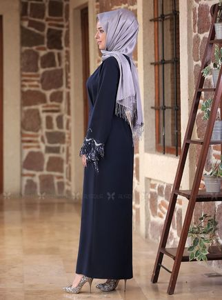 Lacivert Duru Elbise - ES14586 - Thumbnail