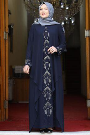 Amine Hüma - Lacivert Fulya Abiye - AMH16110