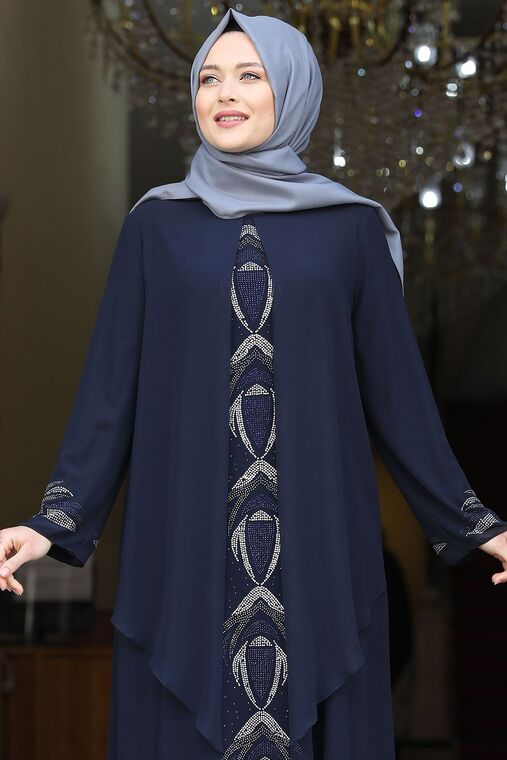 Lacivert Fulya Abiye - AMH16110