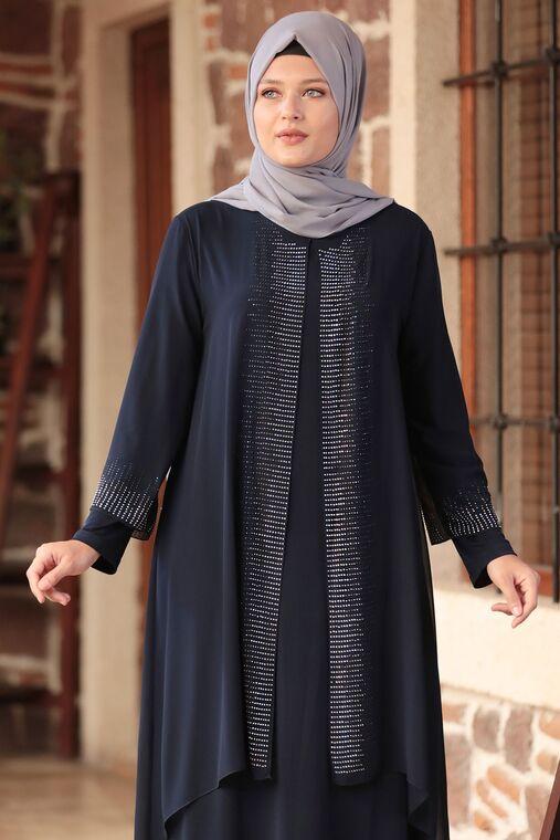 Lacivert Gül Tesettür Abiye - AMH16105