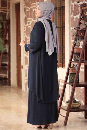 Lacivert Gül Tesettür Abiye - AMH16105 - Thumbnail