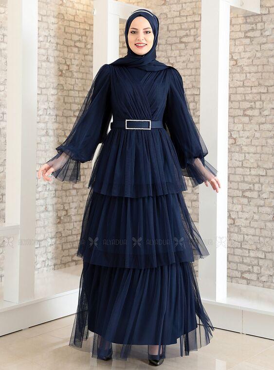 Fashion Showcase - Lacivert Katlı Kemerli Tül Abiye - FS15183