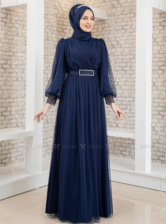 Fashion Showcase - Lacivert Kemeri Taşlı Tül Detay Abiye - FS15195