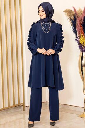 Fashion Showcase - Lacivert Kolu Fırfırlı Takım - FS15844