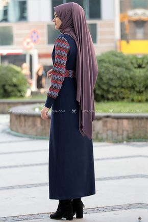 Lacivert Minel Elbise - RZ14192 - Thumbnail