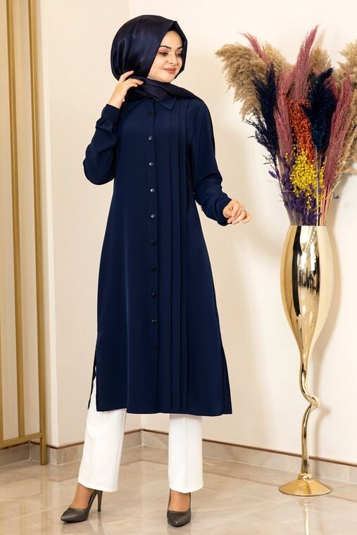 Fashion Showcase - Lacivert Nervürlü Uzun Tunik - FS15854