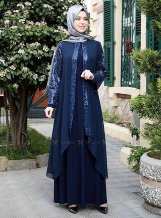 Emsale - Lacivert Payet Şifon Pelerinli Elbise - ES14879