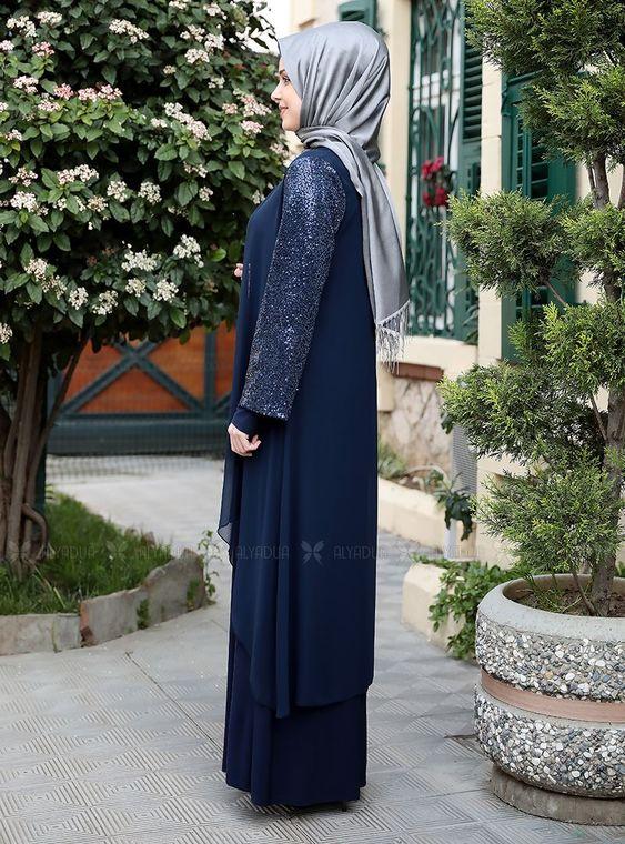 Lacivert Payet Şifon Pelerinli Elbise - ES14879