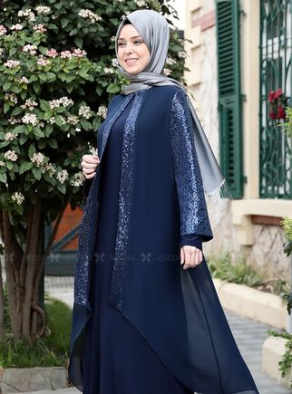 Lacivert Payet Şifon Pelerinli Elbise - ES14879 - Thumbnail