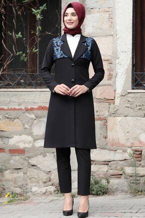 Rana Zenn - Lacivert Sude Deri Kap Ve Pantolon - RZ15576