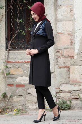 Lacivert Sude Deri Kap Ve Pantolon - RZ15576 - Thumbnail