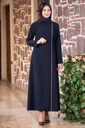Fashion Showcase - Lacivert Taş Detay Bağcıklı Ferace - FS16185