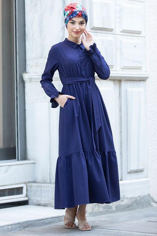 Piennar - Lacivert Vera Büzgülü Elbise - PN15601