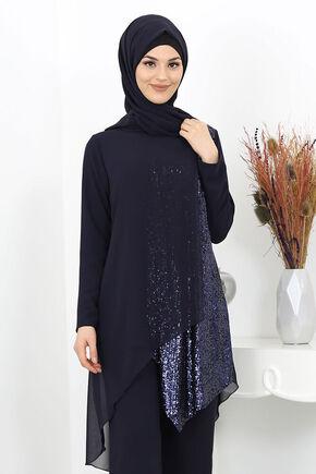 Lacivert Zehra Abiye Takım - SUR15989 - Thumbnail