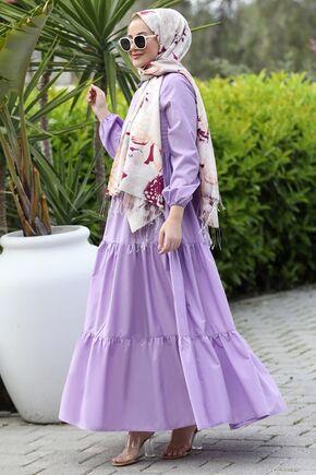 Lila Alaçatı Elbise - ST15896 - Thumbnail