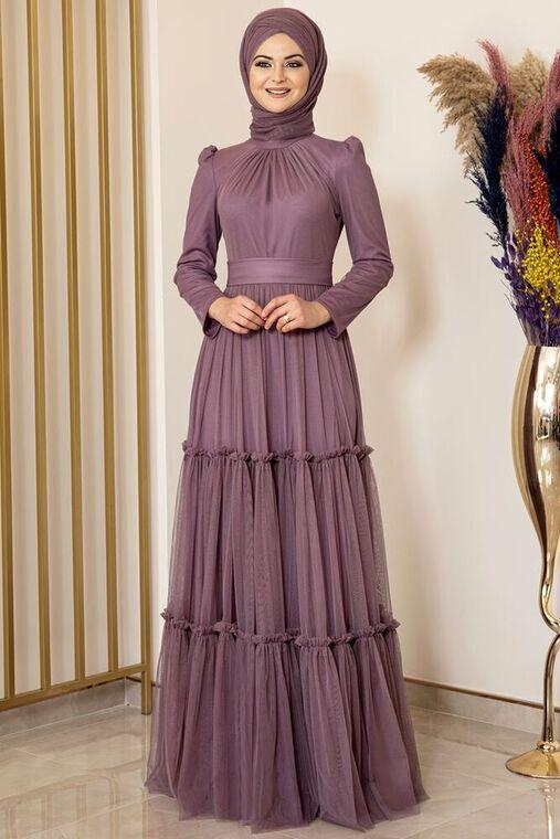 Fashion Showcase - Lila Eteği Fırfırlı Tül Abiye - FS16017