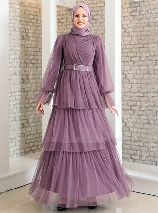 Fashion Showcase - Lila Katlı Kemerli Tül Abiye - FS15185