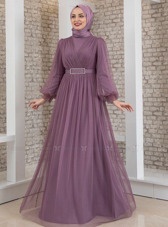 Lila Kemeri Taşlı Tül Detay Abiye - FS15198
