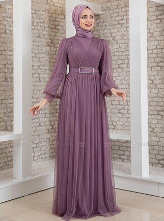 Fashion Showcase - Lila Kemeri Taşlı Tül Detay Abiye - FS15198