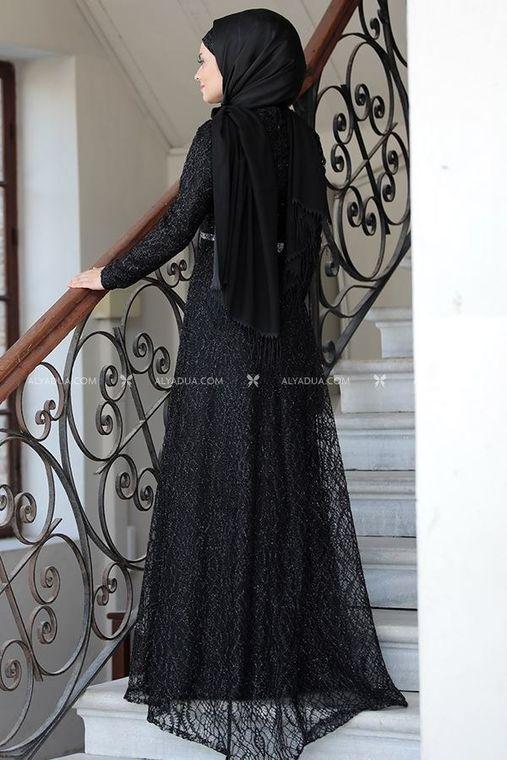 Siyah Parıltı Abiye - AHU14117