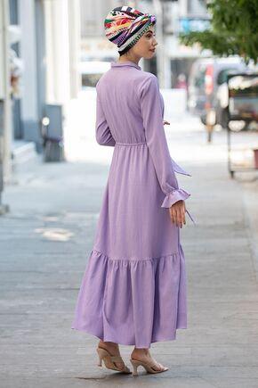 Lila Vera Büzgülü Elbise - PN15600 - Thumbnail