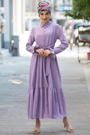 Piennar - Lila Vera Büzgülü Elbise - PN15600