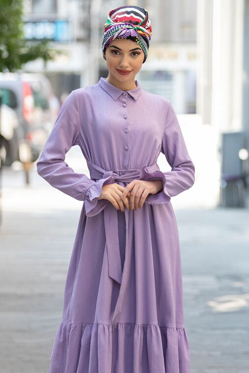 Lila Vera Büzgülü Elbise - PN15600