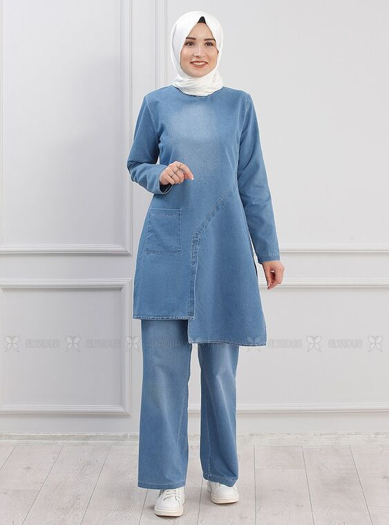 Piennar - Mavi Çapraz Kot Takım - PN15297