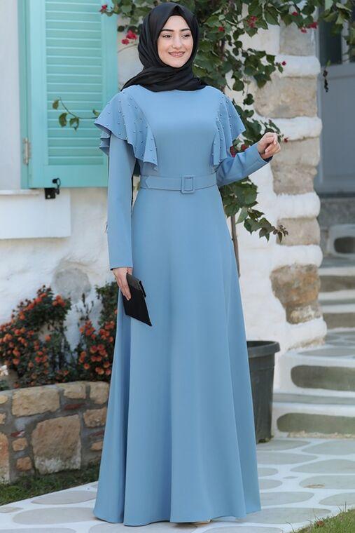Rabeysa - Mavi Damla Elbise - RS15788