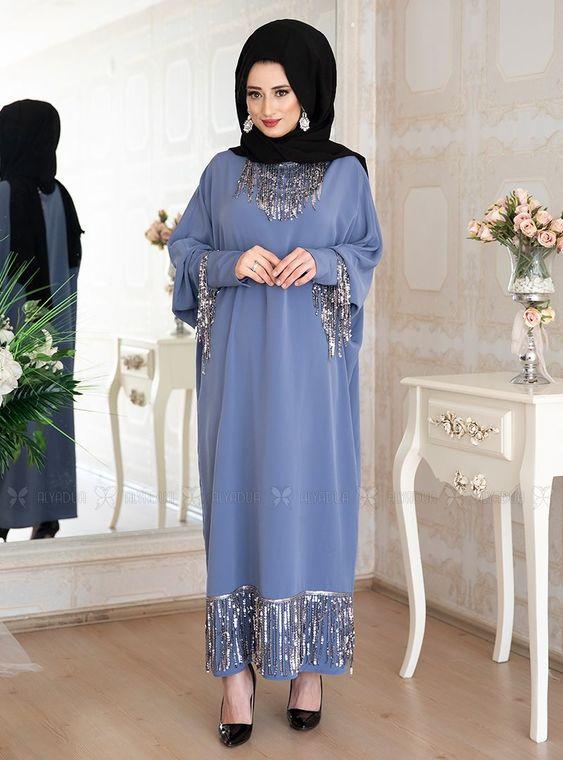 Lefzen - Mavi Efsa Ferace Elbise - LF14915
