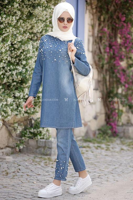 Piennar - Mavi İncili Kot Pantolon Takım - PN5765