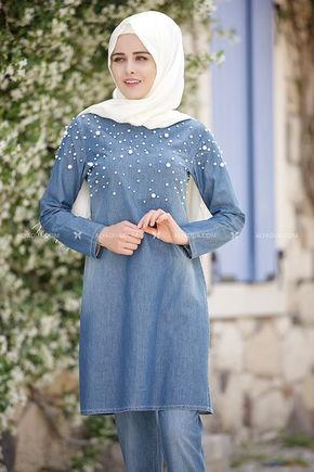 Mavi İncili Kot Pantolon Takım - PN5765 - Thumbnail