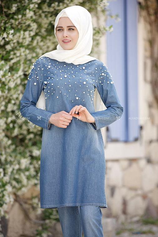 Mavi İncili Kot Pantolon Takım - PN5765