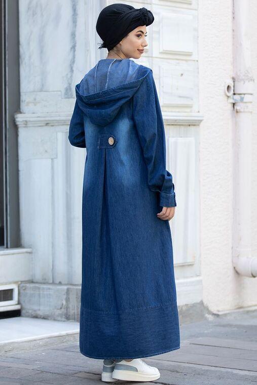 Mavi Kapşonlu Kot Ferace - PN15519