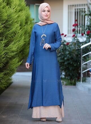 Emsale - Mavi Otantik Elbise - ES15143