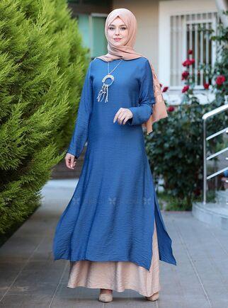 Mavi Otantik Elbise - ES15143 - Thumbnail