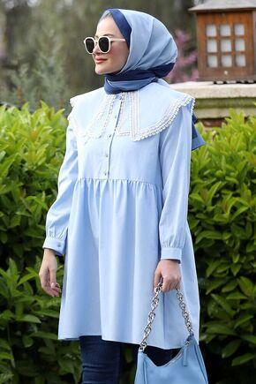 Mavi Yakası Dantelli Tunik - ST15929 - Thumbnail