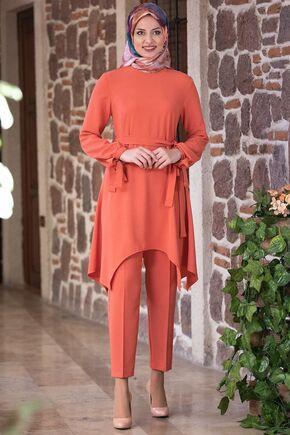 Fashion Showcase - Mercan Beli Bağcıklı Çarpraz Takım - FS15435