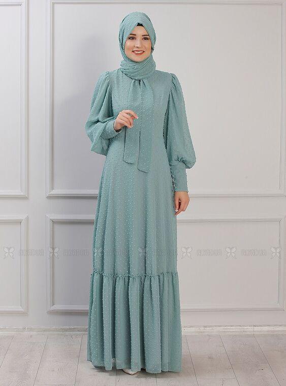 Rana Zenn - Mint Işıl Elbise - RZ15337