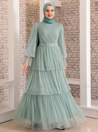 Fashion Showcase - Mint Katlı Kemerli Tül Abiye - FS15181