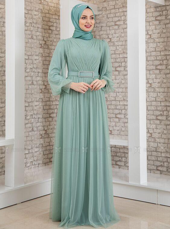 Fashion Showcase - Mint Kemeri Taşlı Tül Detay Abiye - FS15197