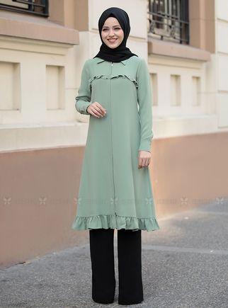 Mint Sare Uzun Kap Tunik - DL14283 - Thumbnail