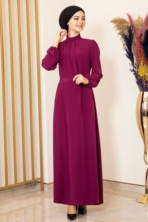 Fashion Showcase - Mor Büzgülü Elbise - FS15872