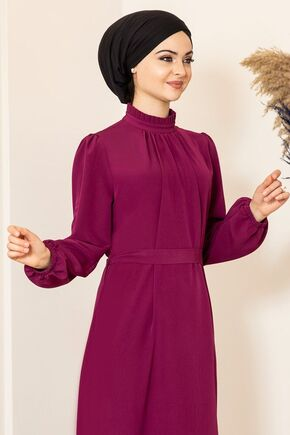 Mor Büzgülü Elbise - FS15872 - Thumbnail