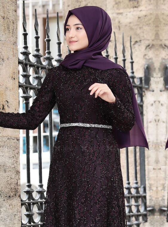 Mor İpek Elbise - RS15018