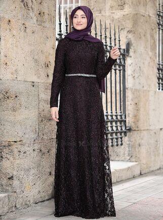 Rabeysa - Mor İpek Elbise - RS15018