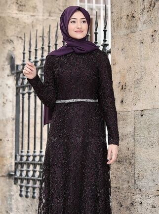 Mor İpek Elbise - RS15018 - Thumbnail