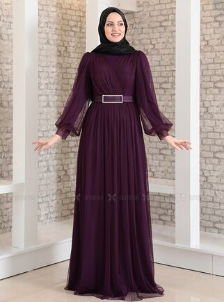Fashion Showcase - Mor Kemeri Taşlı Tül Detay Abiye - FS15194