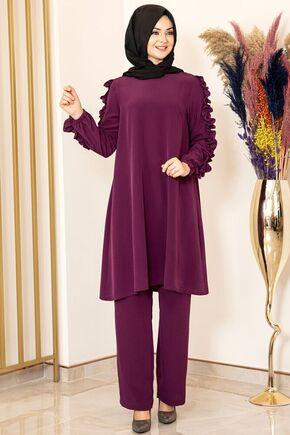 Fashion Showcase - Mor Kolu Fırfırlı Takım - FS15845