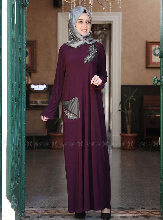 Emsale - Mor Yaprak Elbise - ES15152